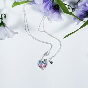 Claire's silver jewel magnetic heart BFF necklaces